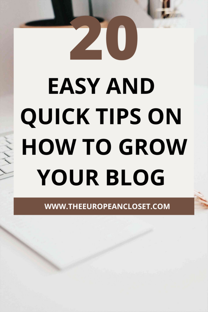 Take a look at twenty easy and straight to the point tips on how to grow your blog traffic starting today!