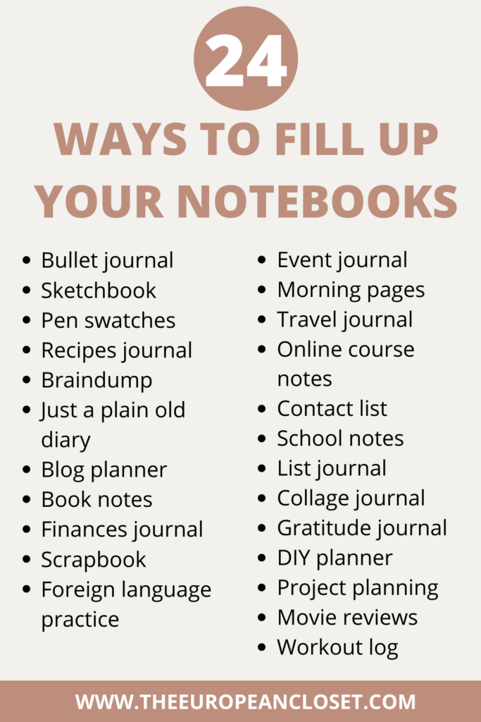 what about you never run out of ideas for what to do with your notebooks? Here's a list you can save to your Pinterest /phone of things you can do with your empty notebooks.