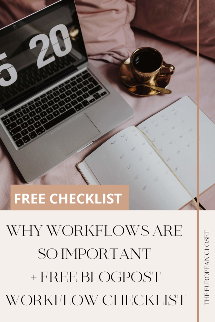 Workflows are what keeps me sane. Having a list I can follow so that I don't miss anything is really important for my blog and for my life