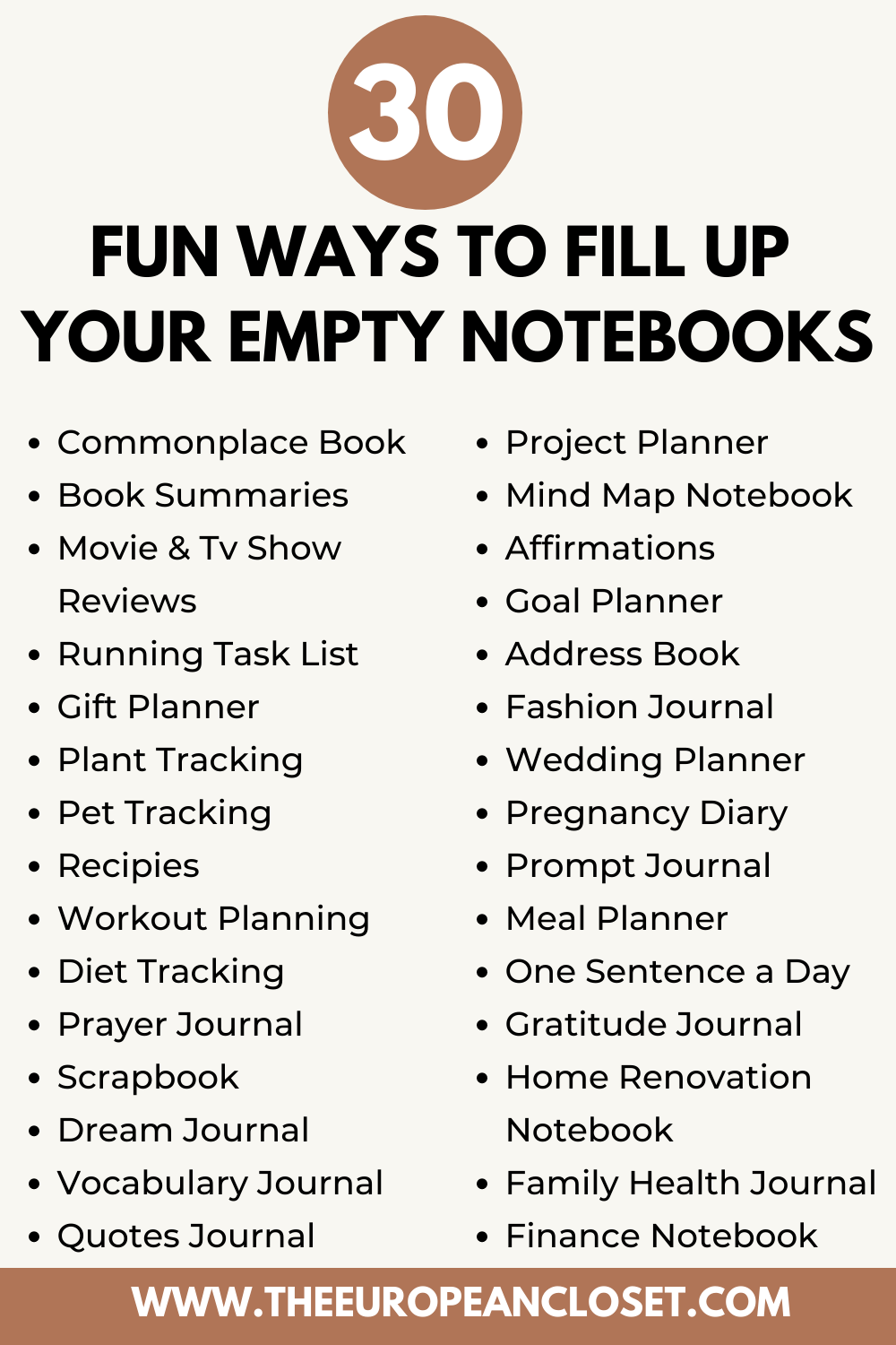 Looking for new ways to fill up your empty notebooks? Look no further. Here are 30 fun ways you can fill up your journals today!