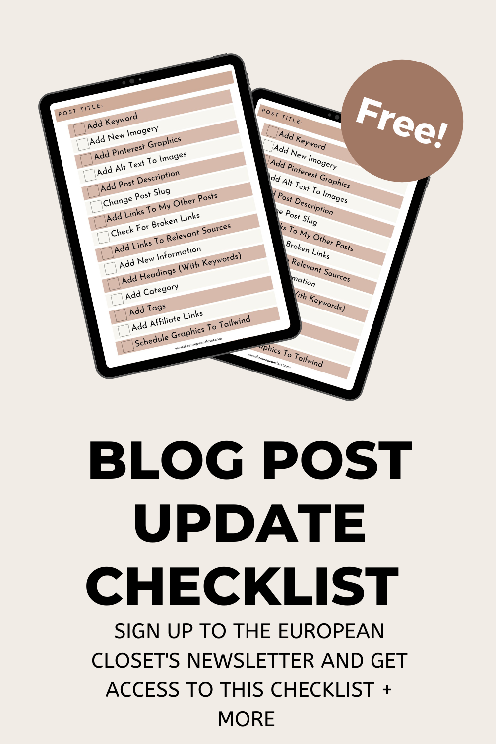 In today's post, I'll show ou how you can update old blog posts to make them drive traffic to your site. Oh, and there's a free checklist too!